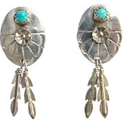 Vintage Southwestern Concho Feather Dangle Turquoise Pierced Earrings Sterling Silver