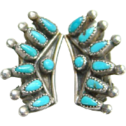 Vintage Zuni Petit Point Turquoise Clip Earrings Sterling Silver Small Size Native American