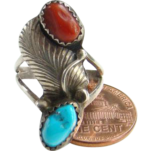 Vintage Navajo Turquoise Nugget Coral Ring Sterling Silver Size 5.5 Native American