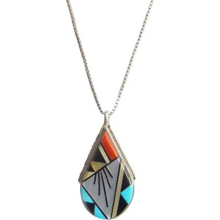 Vintage Cleo Kallestawa E.C.K. Zuni Pendant Necklace Sterling Silver Inlay Turquoise Coral Mother of Pearl Jet