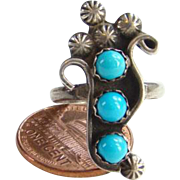 Vintage Native American Turquoise Corn Ring Sterling Silver Size 6.25