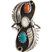 Vintage Navajo Sterling Silver Ring Turquoise Coral Mother of Pearl Signed JA Size 7.75