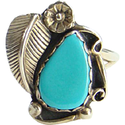 Vintage Native American Turquoise Ring Size 8.75 Sterling Silver Beautiful Stone Navajo