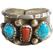 Vintage Morenci Turquoise and Coral Ring Signed RC Sterling Size 8.75