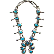 Vintage Kingman Turquoise Squash Blossom Necklace Navajo Sterling Silver Native American