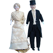 Antique German Bisque Doll House Doll Pair Man in Tuxedo Top Hat Woman White Dress 7 Inch