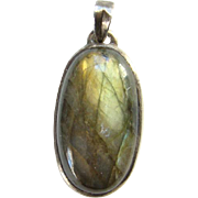 Vintage Labradorite Gemstone and Sterling Silver Oval Necklace Pendant