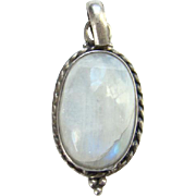 Vintage Rainbow Moonstone Sterling Silver Oval Necklace Pendant Hand Made Blue Flash