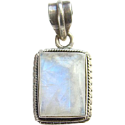 Rainbow Moonstone Vintage Sterling Silver Necklace Pendant Hand Made Nice Blue Flash