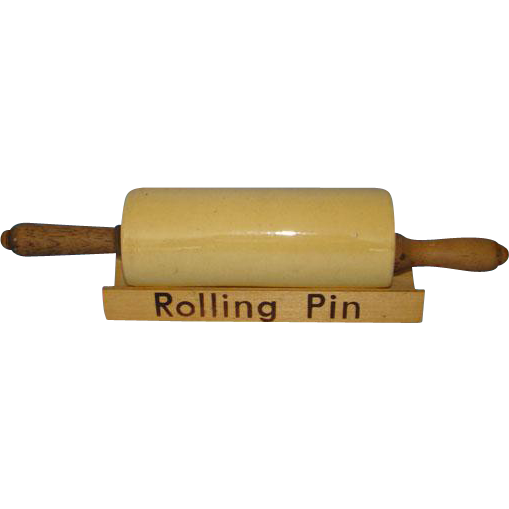 Antique Yellow Ware Yellowware Yelloware Rolling Pin with Stand Strong Eggyolk Color