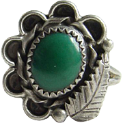 Vintage Native American Navajo Sterling Ring Green Turquoise Signed Spencer Size 4.5