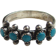 Vintage Native American Zuni Turquoise Row Ring Size 7 Sterling Silver
