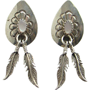 Vintage Mother of Pearl Sterling Silver Concho Native American Pierced Earrings Feather Dangles