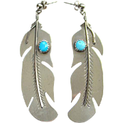 Vintage Pierced Earrings Native American Big Feather Turquoise Marked Sterling TB