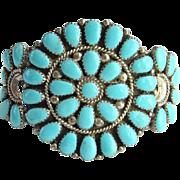Vintage Native American Turquoise and Sterling Cluster Bracelet Signed SW