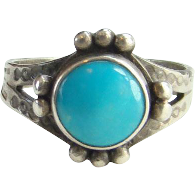 Vintage Maisel's Indian Trading Post Turquoise Ring Size 7 Sterling Silver Native American