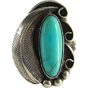 Vintage Navajo Indian Turquoise Ring Size 8 Sterling Silver Native American