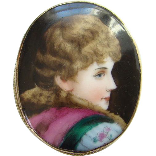 Antique Victorian Hand Painted Oval Porcelain Portrait Brooch Gold Filled C Clasp