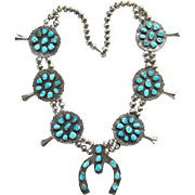 Vintage Southwestern Turquoise Rosette Squash Blossom Necklace Sterling Silver Bench Beads