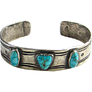 Old Pawn Navajo Turquoise Cuff Bracelet Heart Shape Stone Heavy Sterling Silver Stamp Decorated
