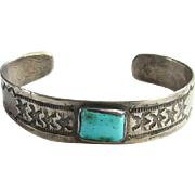 Navajo Old Pawn Turquoise Cuff Bracelet Stamp Decorated Sterling Silver Native American Fred Harvey Era