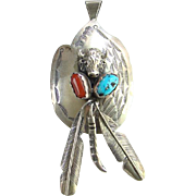 Vintage Turquoise Coral Sterling Silver Navajo Necklace Pendant with Feathers Buffalo Signed FJ