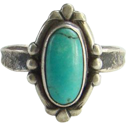 Vintage Bell Trading Post Turquoise Ring Size 5.75 Hallmarked Cross Hatch Shank
