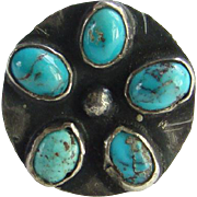 Old Navajo Sterling Silver Rosette Ring Set with Natural Turquoise Size 6.25 Handmade