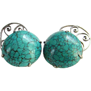 Old Chinese Export Turquoise Cuff Links Marked Silver China Family