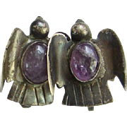 Taxco Sterling Thunderbird Screw Back Earrings Amethyst Stone Mexico Silver