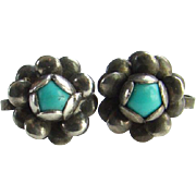 Old Turquoise and Sterling Silver Screw Back Earrings Floral Design Handmade