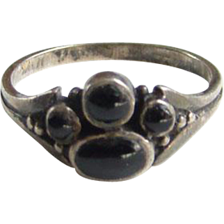 Vintage Black Onyx Pinky Stacking Ring Size 5 Hallmarked 925 Handmade