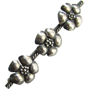 Vintage Sterling Silver Bar Pin Three Flowers Hand Made Mexican Jewelry Style