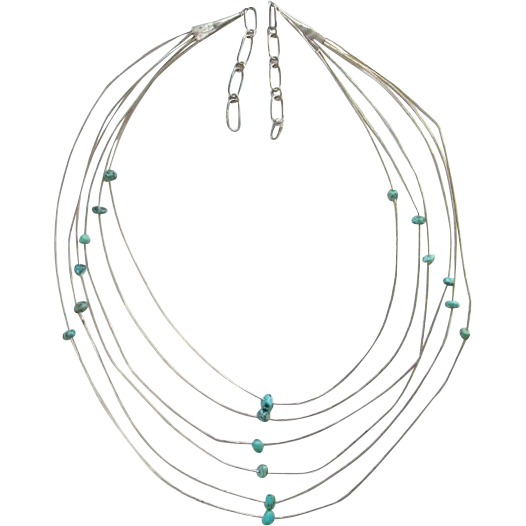 Southwestern Six Strand Liquid Sterling Silver and Turquoise Nugget Necklace Handmade