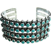 Vintage Zuni Turquoise Sterling Silver Four Rows Snake Eye Cuff Bracelet