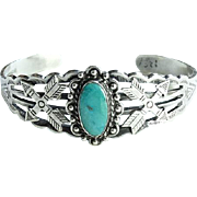 Vintage Fred Harvey Era Native American Turquoise Cuff Bracelet Signed Sterling