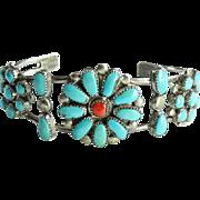 Vintage Zuni LLW Turquoise Coral Cluster Cuff Bracelet Sterling Silver Leonard Lula Weebothee