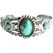 Native American Turquoise Cuff Bracelet with Thunderbirds Fred Harvey Era Signed Sterling