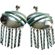 Vintage Zuni Silver Turquoise Concho Needlepoint Chandelier Pierced Earrings Signed Sterling