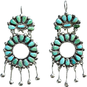 Zuni Vintage Turquoise Cluster Petit Point Chandelier Pierced Earrings Sterling Silver