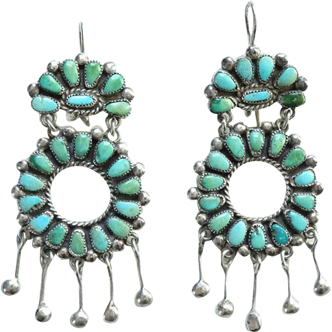 Zuni Vintage Turquoise Cluster Petit Point Chandelier Pierced Earrings Sterling Silver