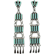 Vintage Zuni Turquoise Needlepoint Chandelier Pierced Earrings Signed R&A Pinto Zuni