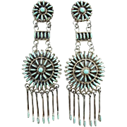 Zuni Turquoise Needlepoint Rosette Cluster Chandelier Pierced Earrings Signed Sterling Vintage