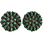 Native American Zuni Petit Point Turquoise Cluster Screw Back Earrings Sterling Silver