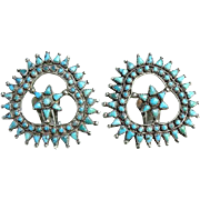 Vintage Zuni Turquoise Petit Point Clip Earrings Sterling Silver Native American