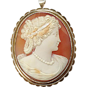 Old Carved Shell Cameo Pendant Brooch Classical Woman Sterling Silver Gold Vermeil