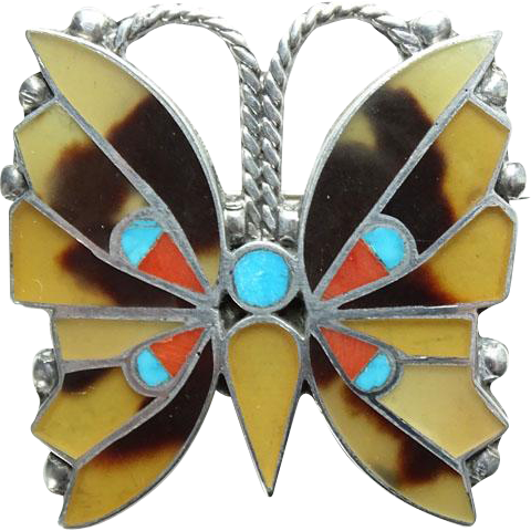 C1930s Zuni Sterling Silver Channel Inlay Butterfly Pin Brooch Turquoise Coral Horn