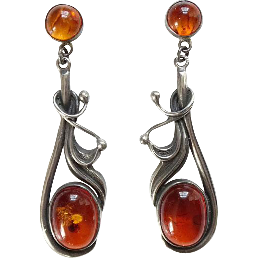 Vintage Baltic Amber and Sterling Silver Dangle Pierced Earrings Art Nouveau Style