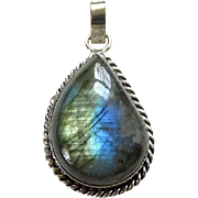 Vintage Labradorite Gemstone Necklace Pendant Blue Flash 800 Silver Setting
