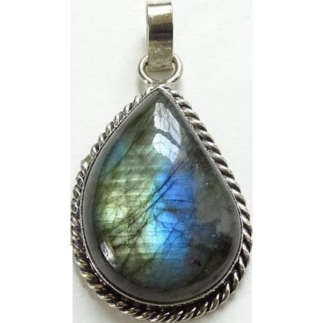 Vintage Labradorite Gemstone Necklace Pendant Blue Flash 800 Silver Setting